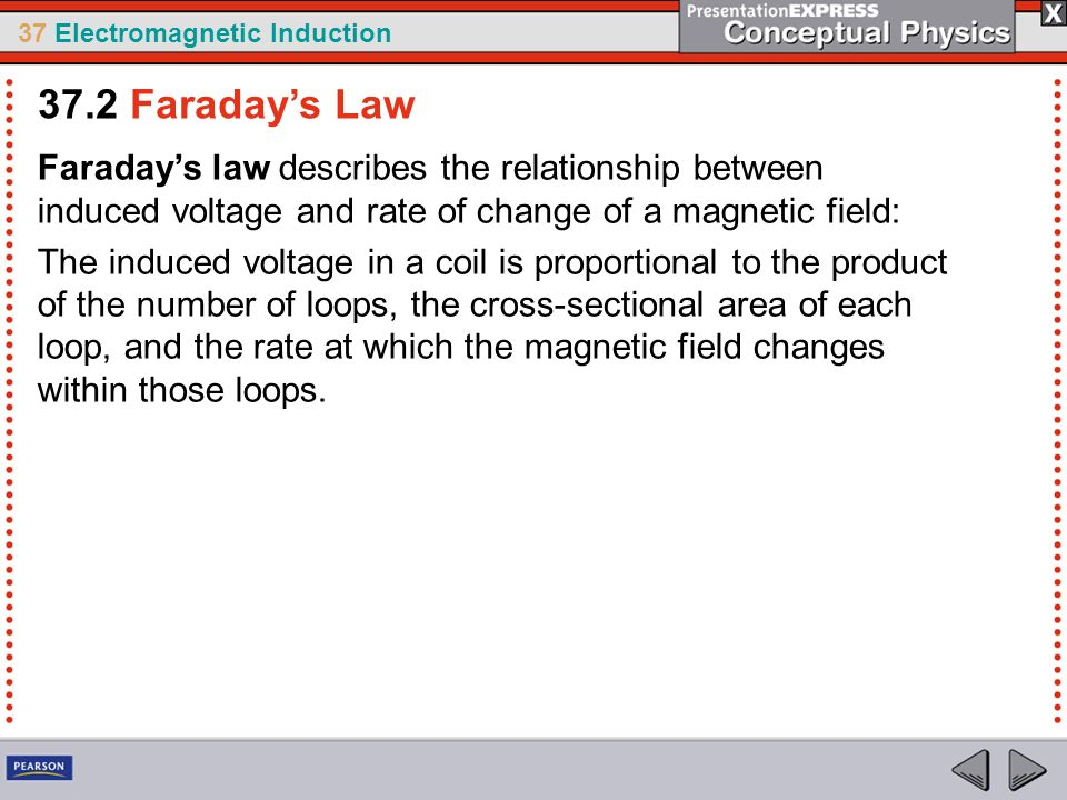 37.2 Faraday's Law Faraday's law describes the relationship between induced voltage and rate of change of a magnetic field: