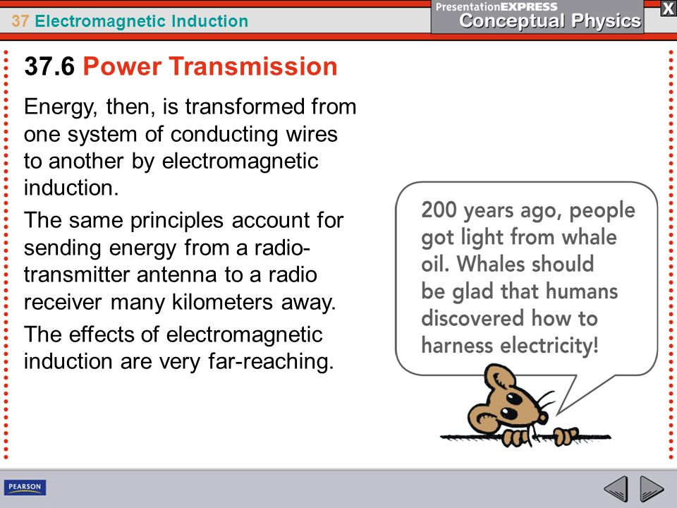 37.6 Power Transmission Energy, then, is transformed from one system of conducting wires to another by electromagnetic induction.
