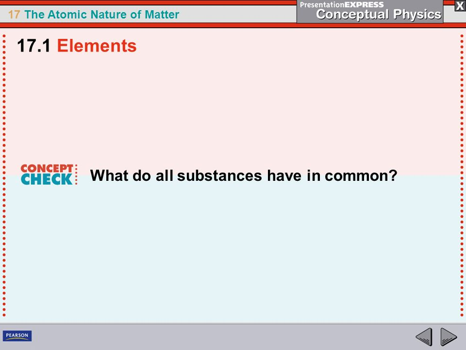 17.1 Elements What do all substances have in common