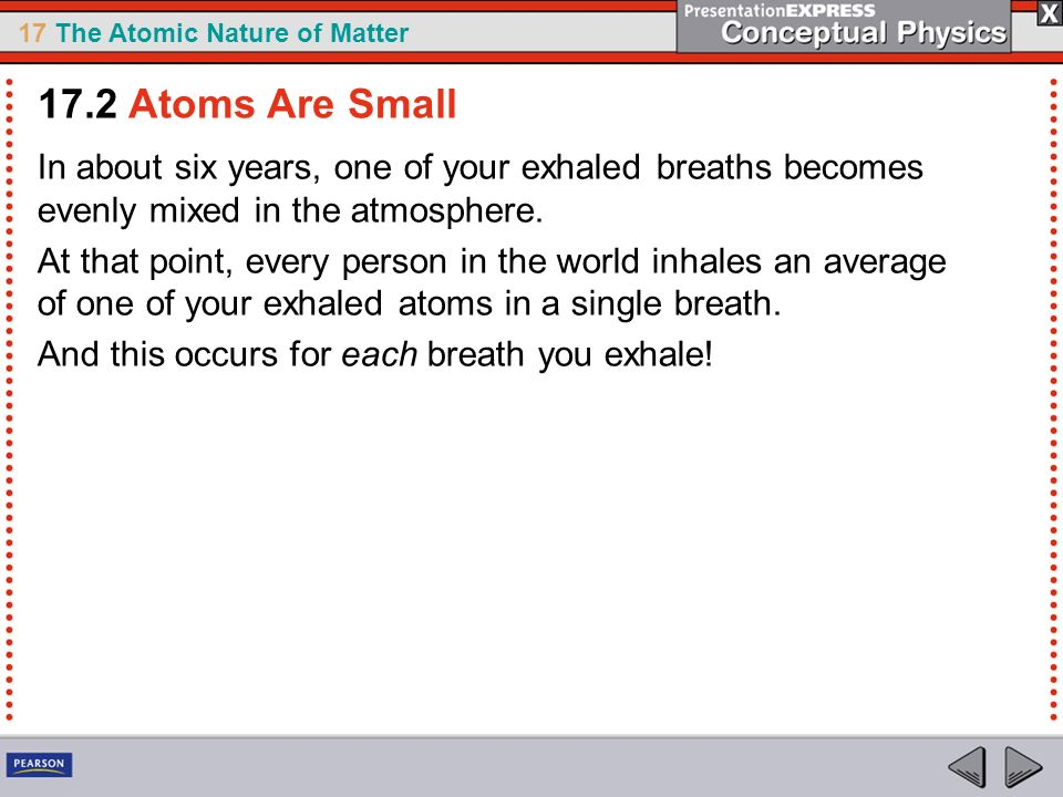 17.2 Atoms Are Small In about six years, one of your exhaled breaths becomes evenly mixed in the atmosphere.