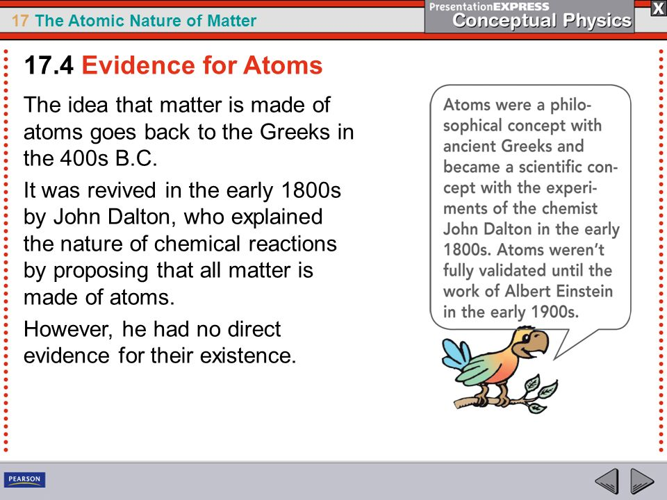 17.4 Evidence for Atoms The idea that matter is made of atoms goes back to the Greeks in the 400s B.C.