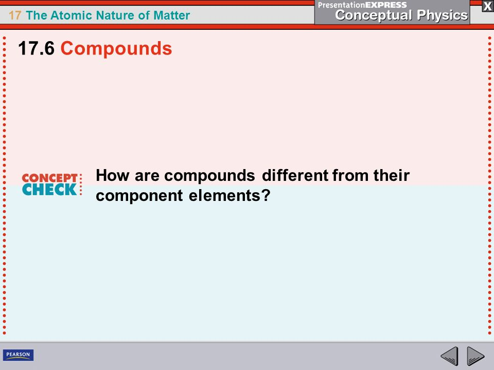 17.6 Compounds How are compounds different from their component elements
