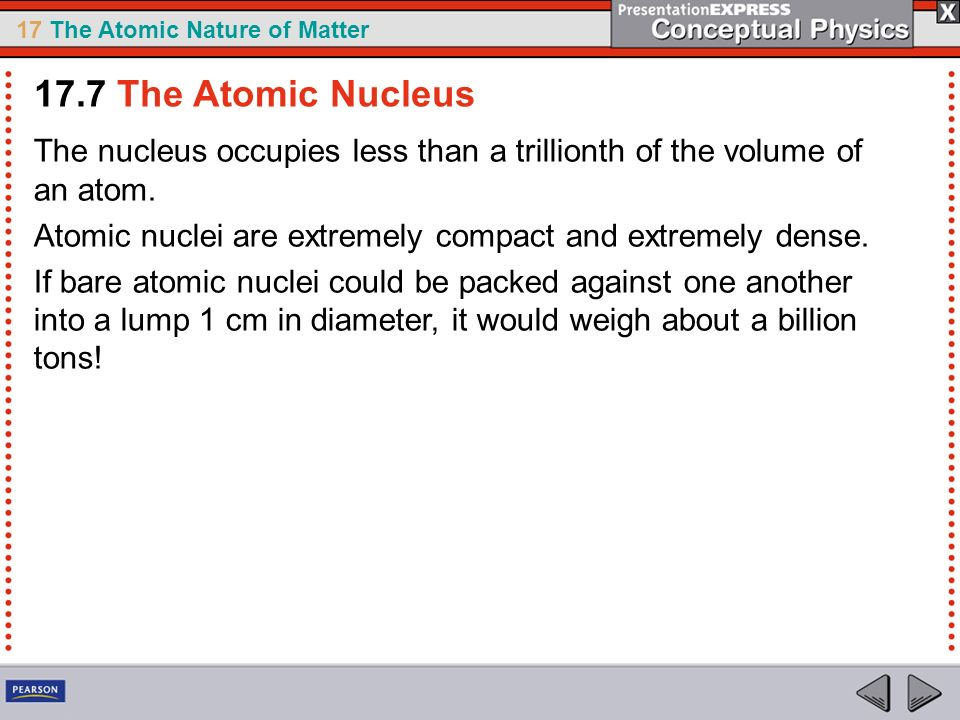 17.7 The Atomic Nucleus The nucleus occupies less than a trillionth of the volume of an atom.