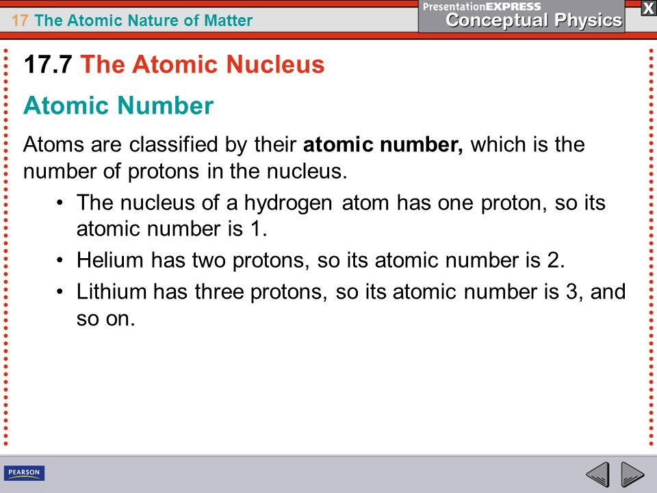 17.7 The Atomic Nucleus Atomic Number