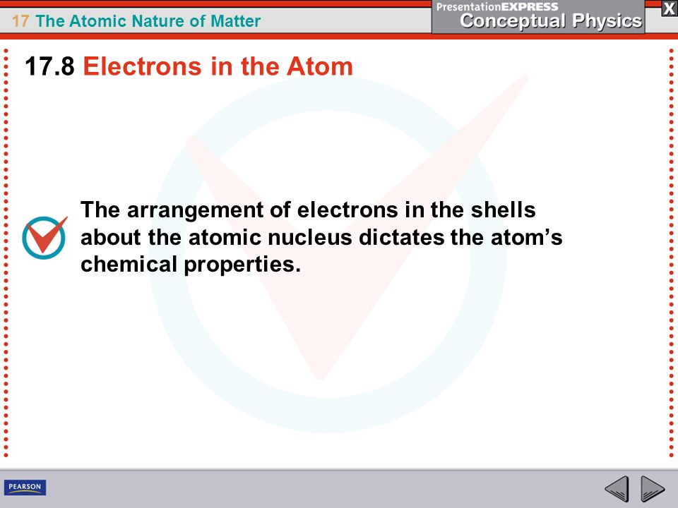 17.8 Electrons in the Atom The arrangement of electrons in the shells about the atomic nucleus dictates the atom's chemical properties.