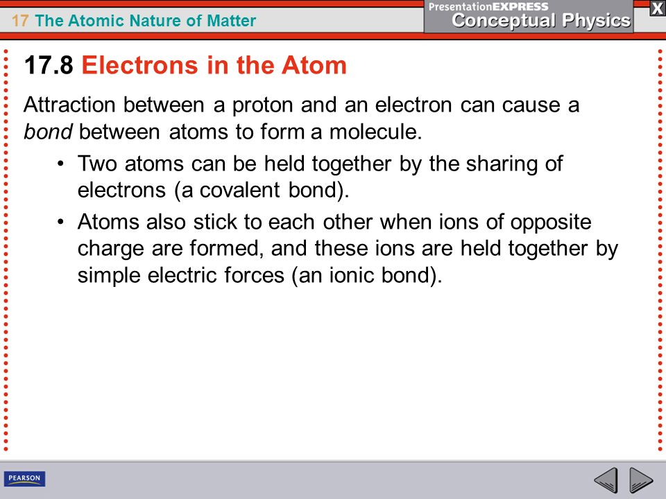 17.8 Electrons in the Atom Attraction between a proton and an electron can cause a bond between atoms to form a molecule.