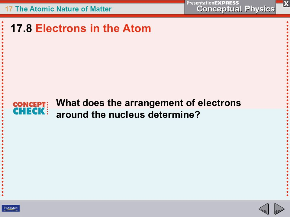 17.8 Electrons in the Atom What does the arrangement of electrons around the nucleus determine