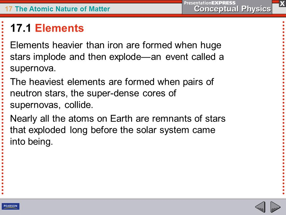 17.1 Elements Elements heavier than iron are formed when huge stars implode and then explode—an event called a supernova.