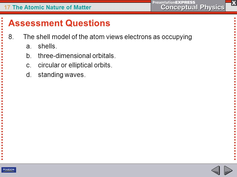 Assessment Questions The shell model of the atom views electrons as occupying. shells. three-dimensional orbitals.