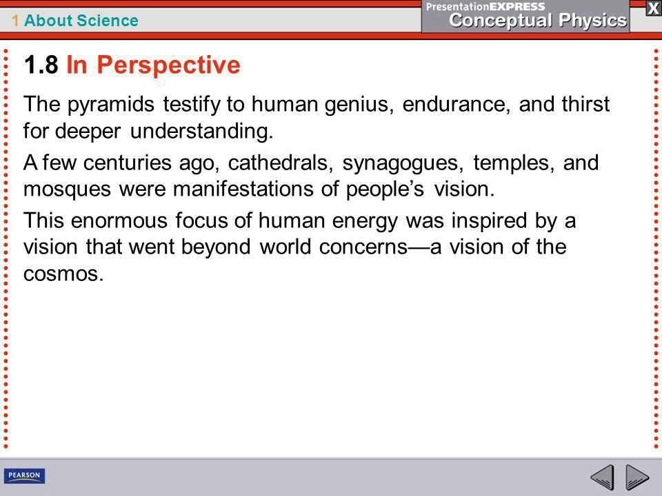 1.8 In Perspective The pyramids testify to human genius, endurance, and thirst for deeper understanding.