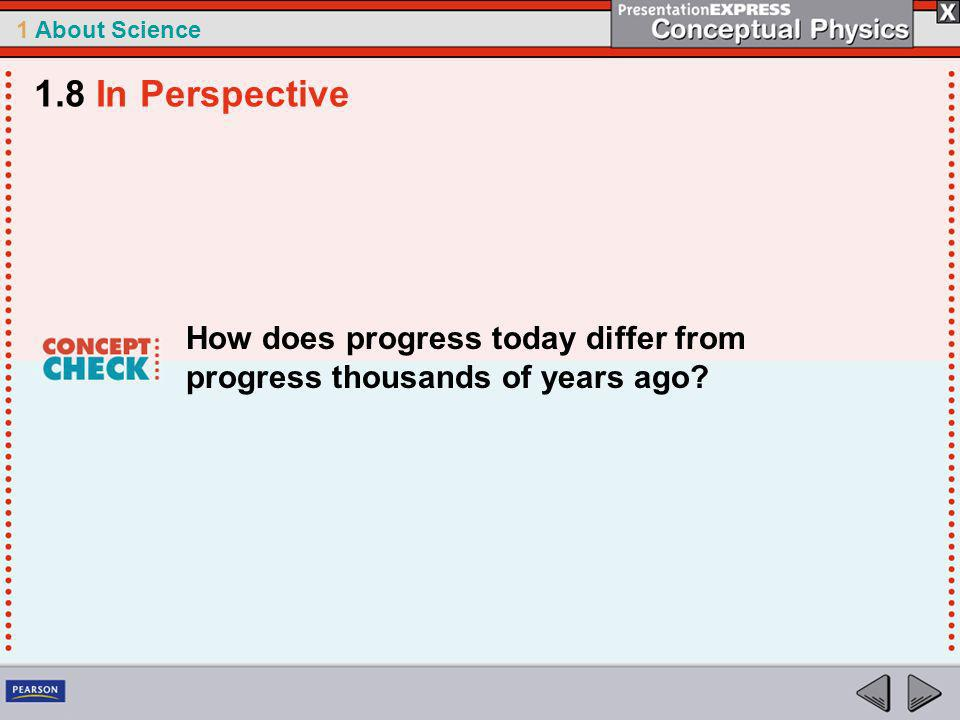 1.8 In Perspective How does progress today differ from progress thousands of years ago