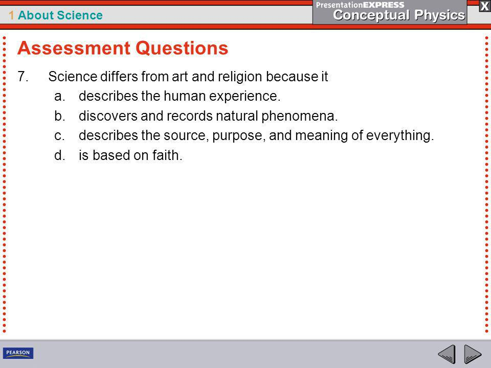 Assessment Questions Science differs from art and religion because it