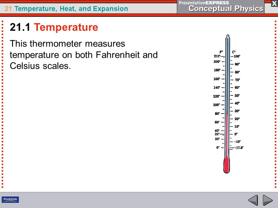 21.1 Temperature This thermometer measures temperature on both Fahrenheit and Celsius scales.