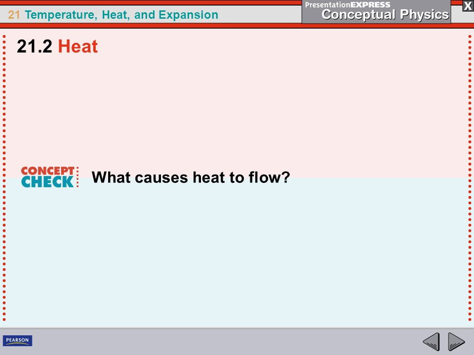 21.2 Heat What causes heat to flow