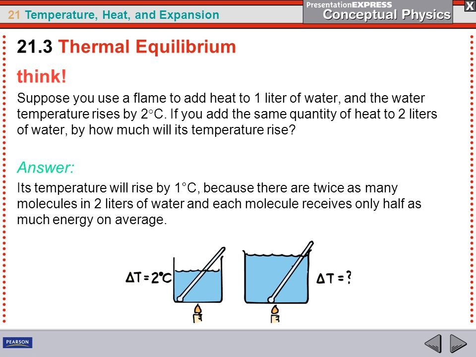 21.3 Thermal Equilibrium think! Answer: