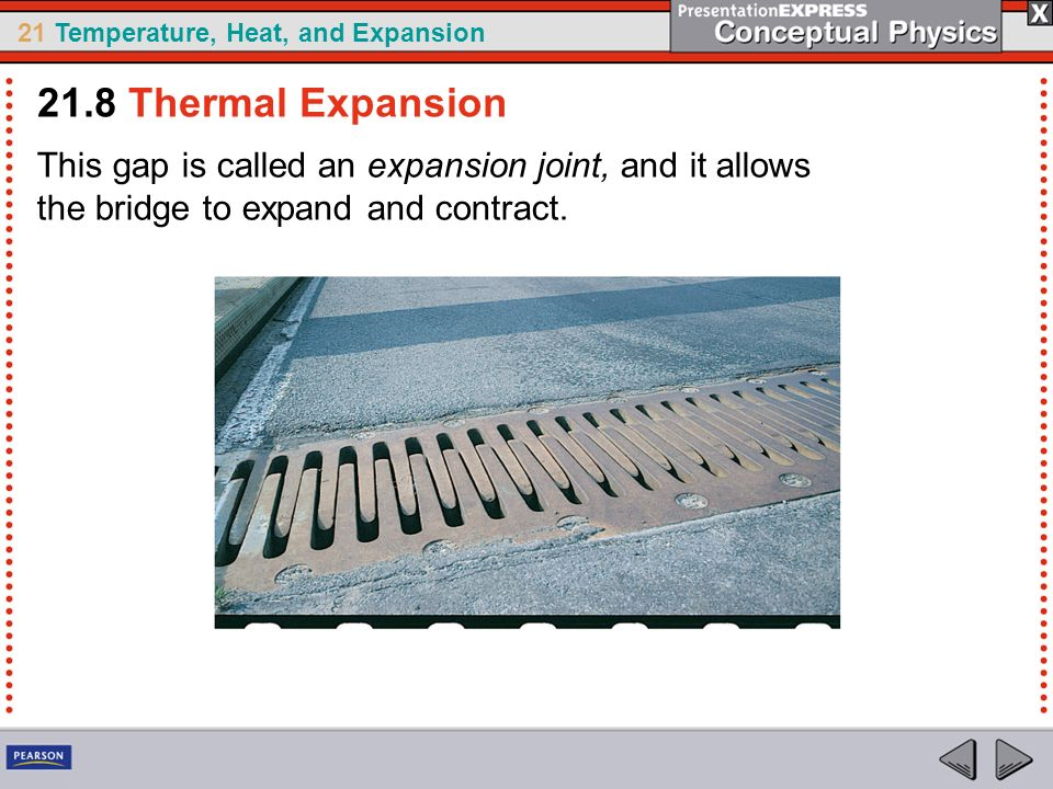 21.8 Thermal Expansion This gap is called an expansion joint, and it allows the bridge to expand and contract.