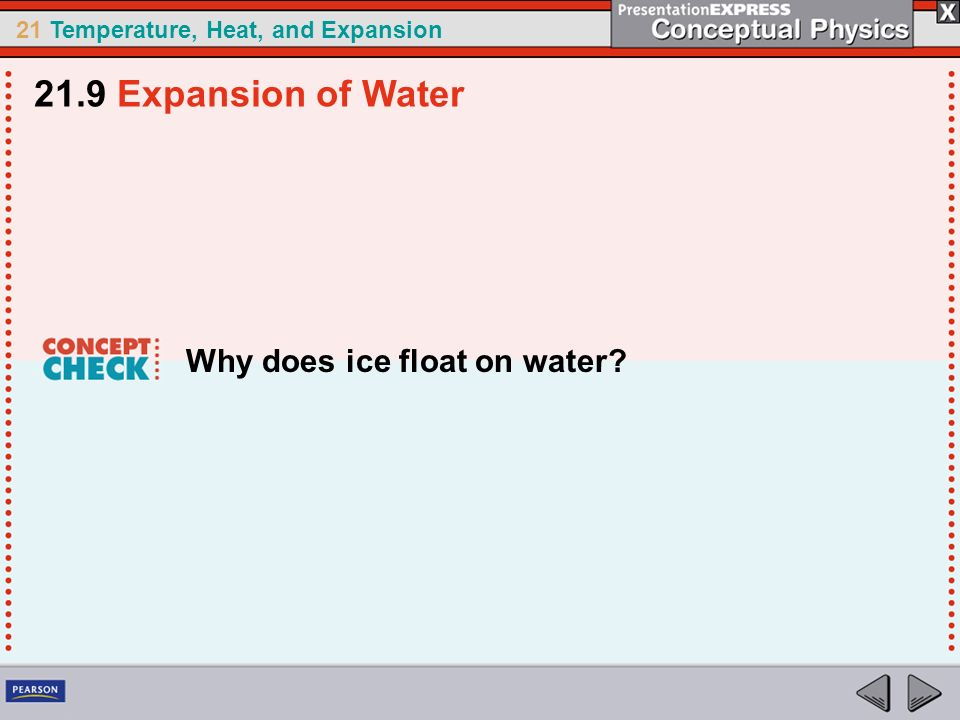 21.9 Expansion of Water Why does ice float on water