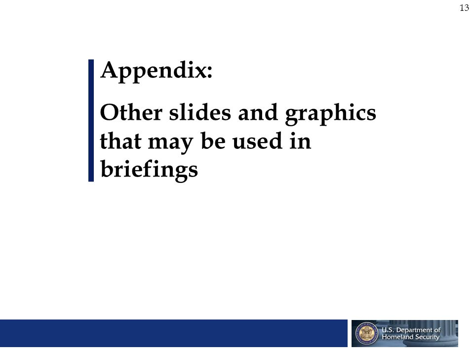 Appendix: Other slides and graphics that may be used in briefings