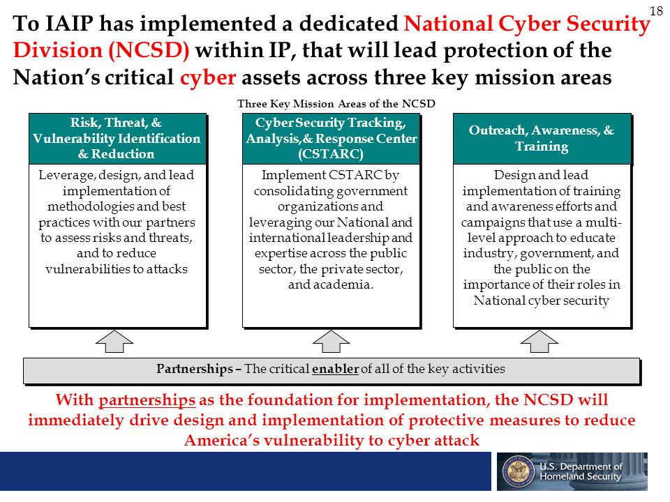 To IAIP has implemented a dedicated National Cyber Security Division (NCSD) within IP, that will lead protection of the Nation's critical cyber assets across three key mission areas
