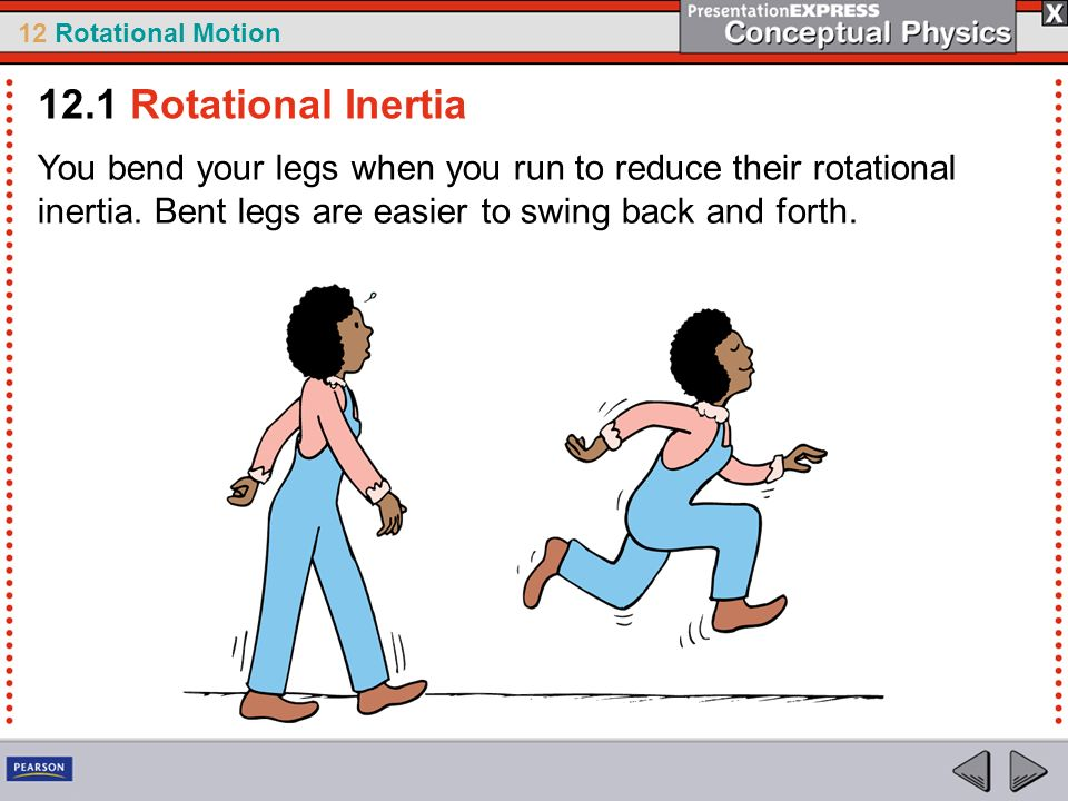 12.1 Rotational Inertia You bend your legs when you run to reduce their rotational inertia.