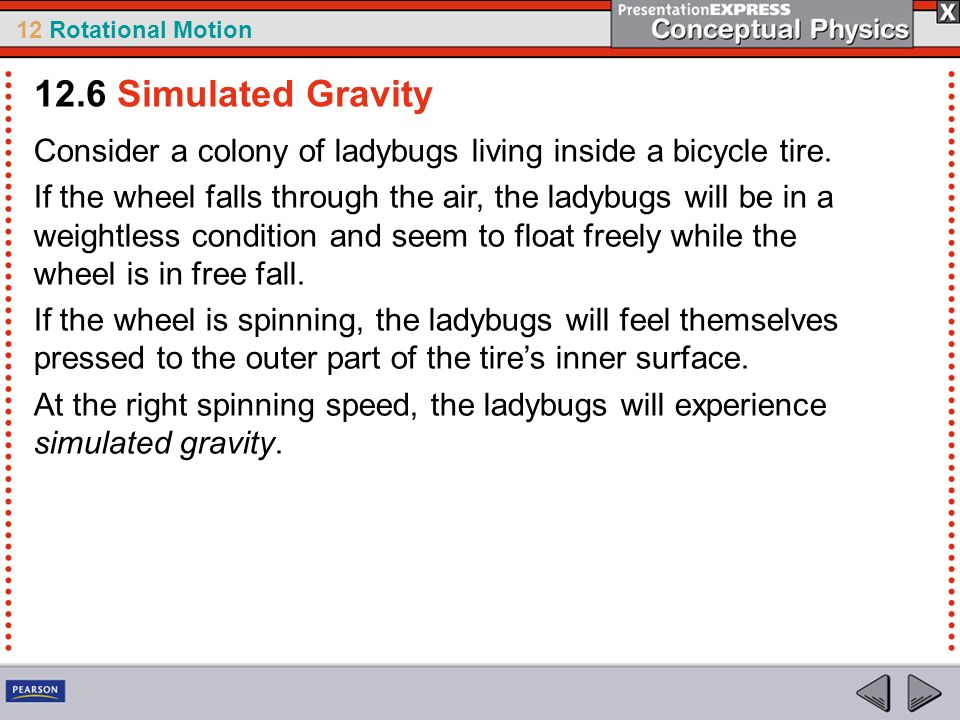 12.6 Simulated Gravity Consider a colony of ladybugs living inside a bicycle tire.