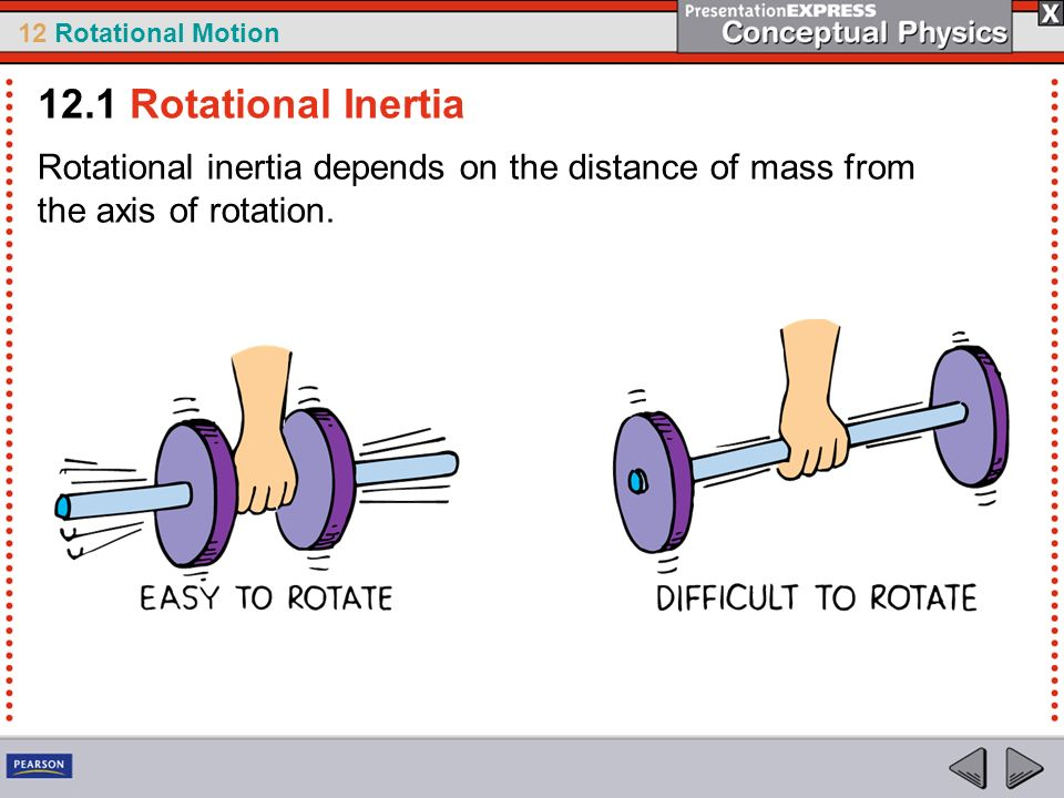 12.1 Rotational Inertia Rotational inertia depends on the distance of mass from the axis of rotation.