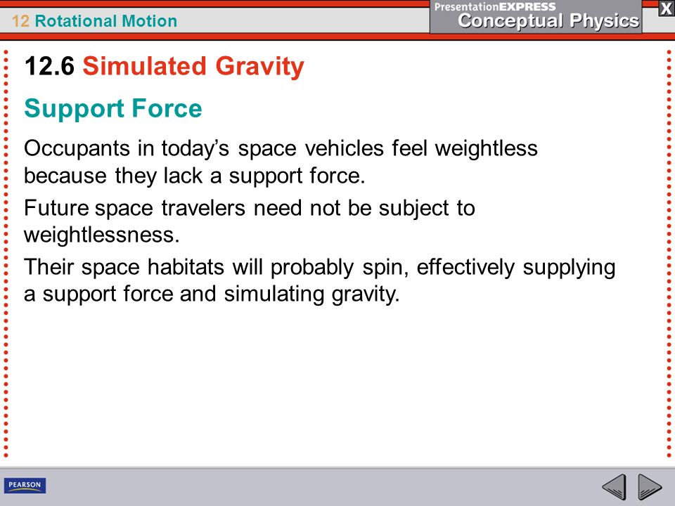 12.6 Simulated Gravity Support Force