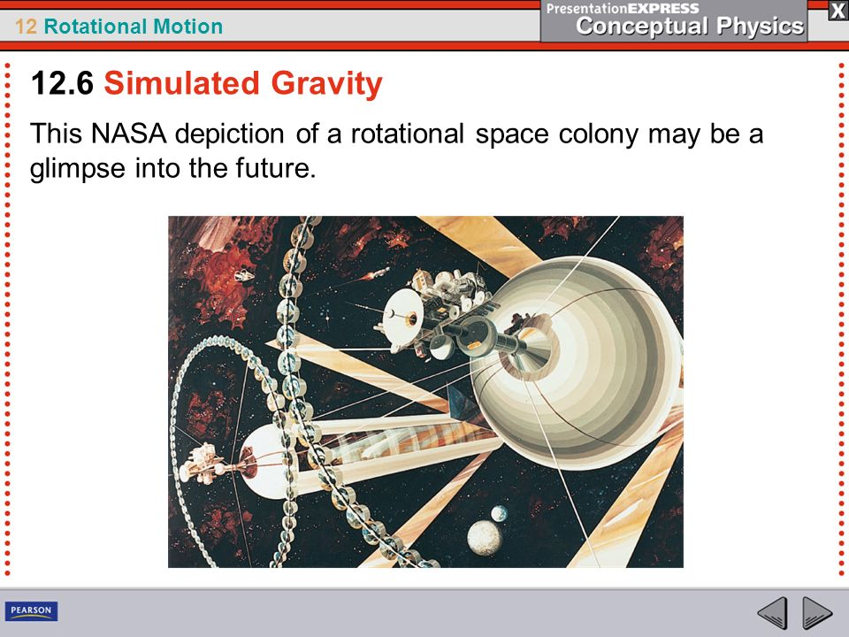 12.6 Simulated Gravity This NASA depiction of a rotational space colony may be a glimpse into the future.