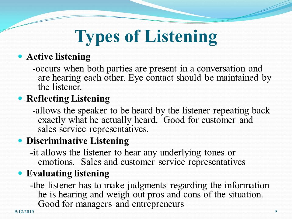 types of active listening