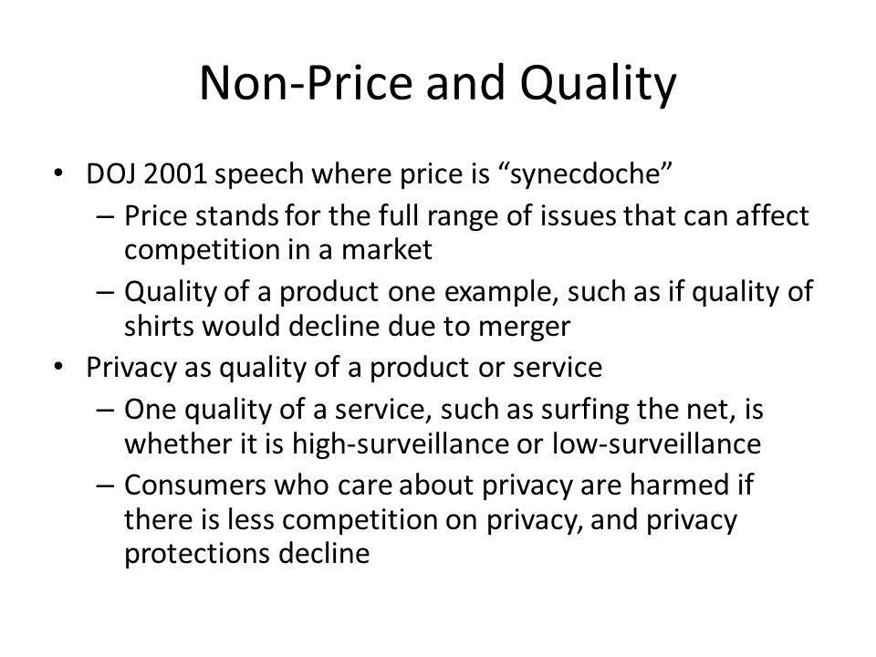 Non-Price and Quality DOJ 2001 speech where price is synecdoche