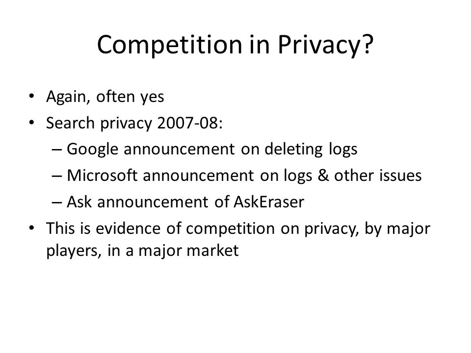 Competition in Privacy