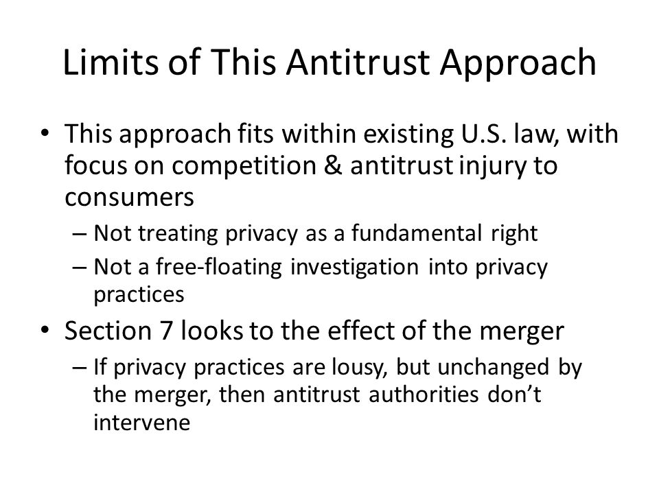 Limits of This Antitrust Approach