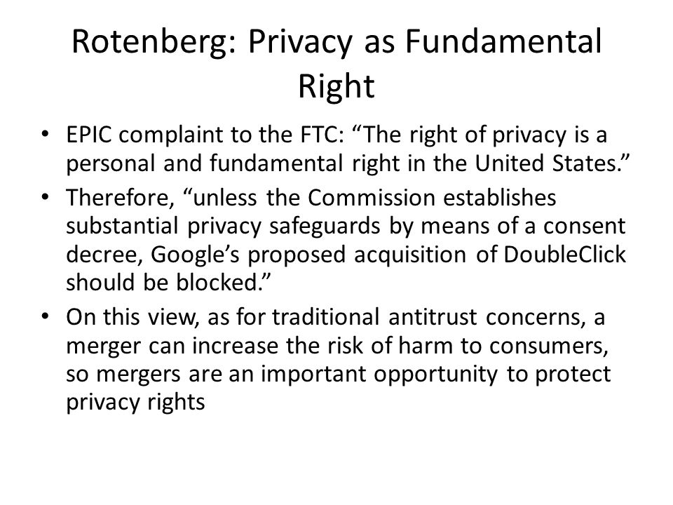 Rotenberg: Privacy as Fundamental Right