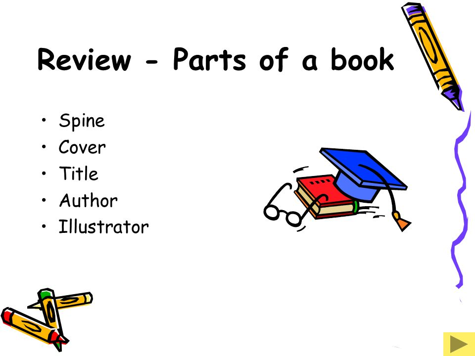 Review - Parts of a book Spine Cover Title Author Illustrator