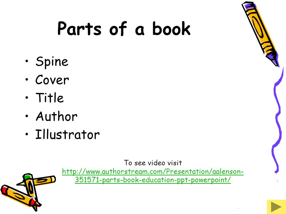Parts of a book Spine Cover Title Author Illustrator