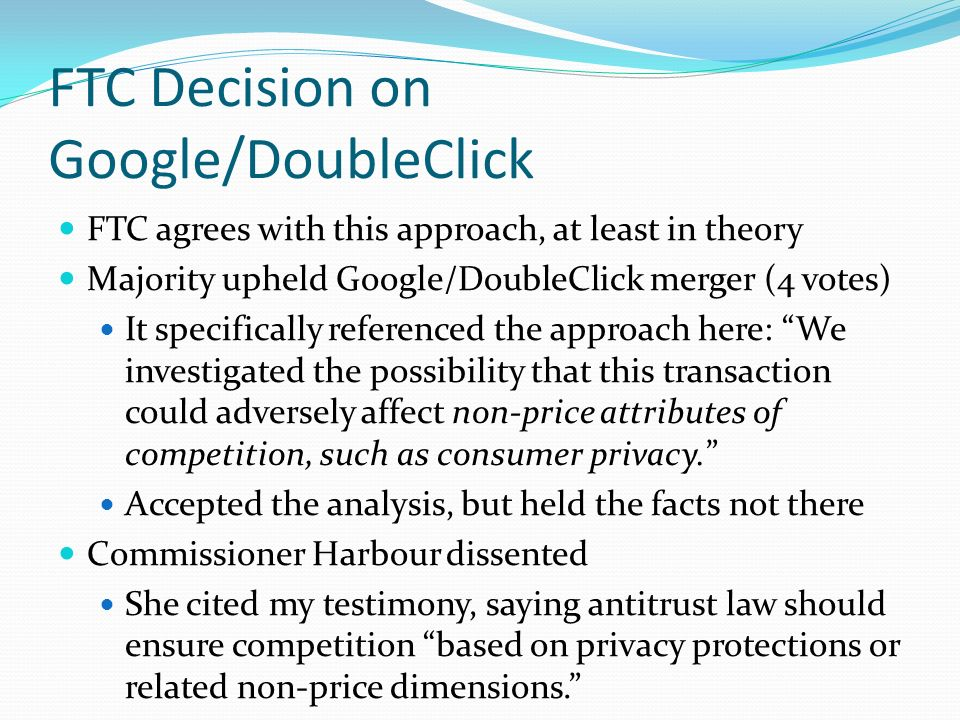 FTC Decision on Google/DoubleClick