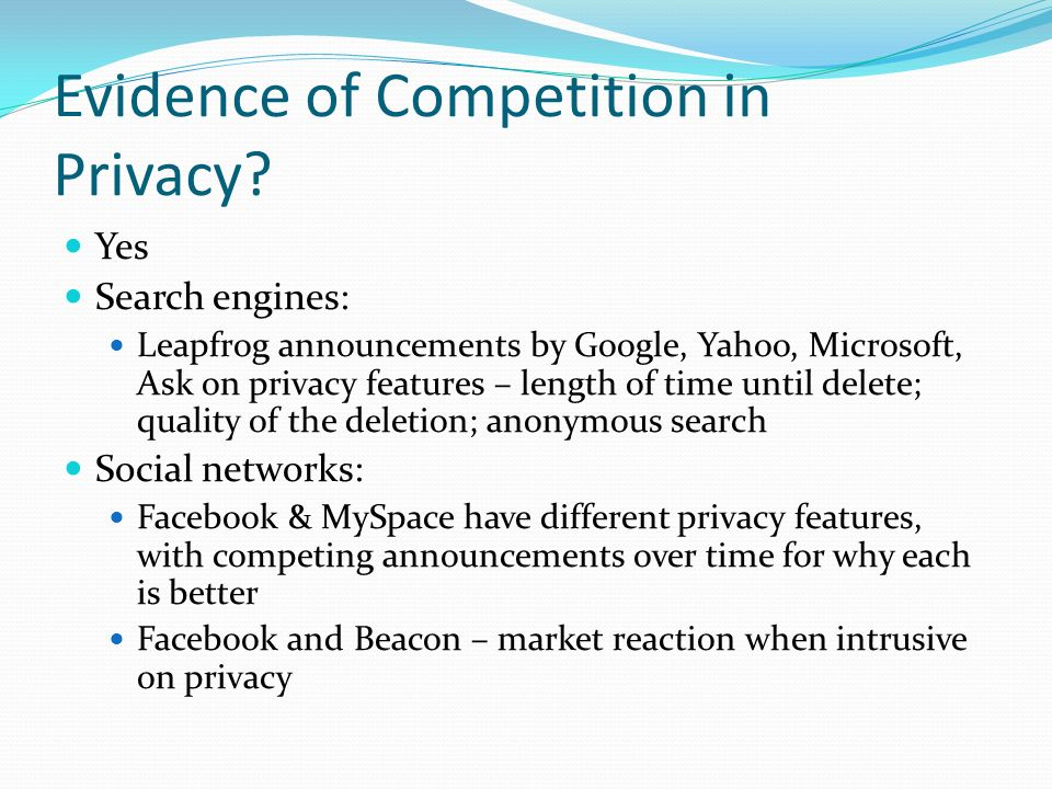 Evidence of Competition in Privacy