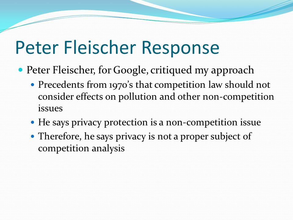 Peter Fleischer Response