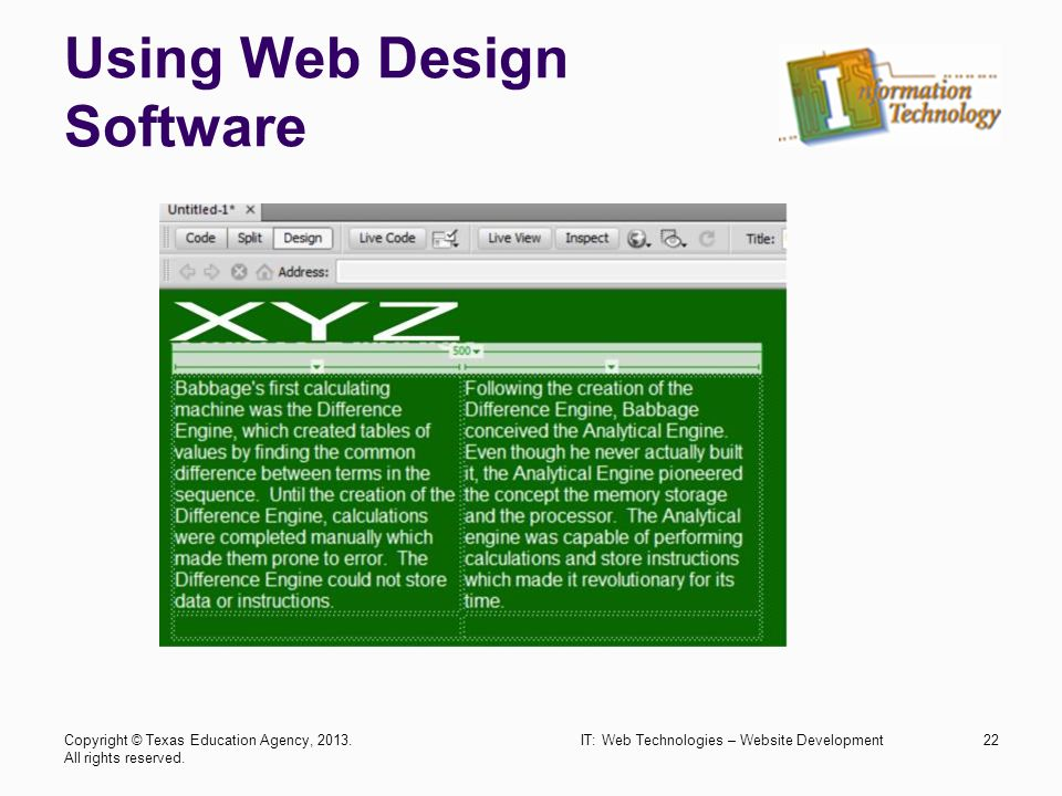 Web technologies website development trade industrial for Web page table design