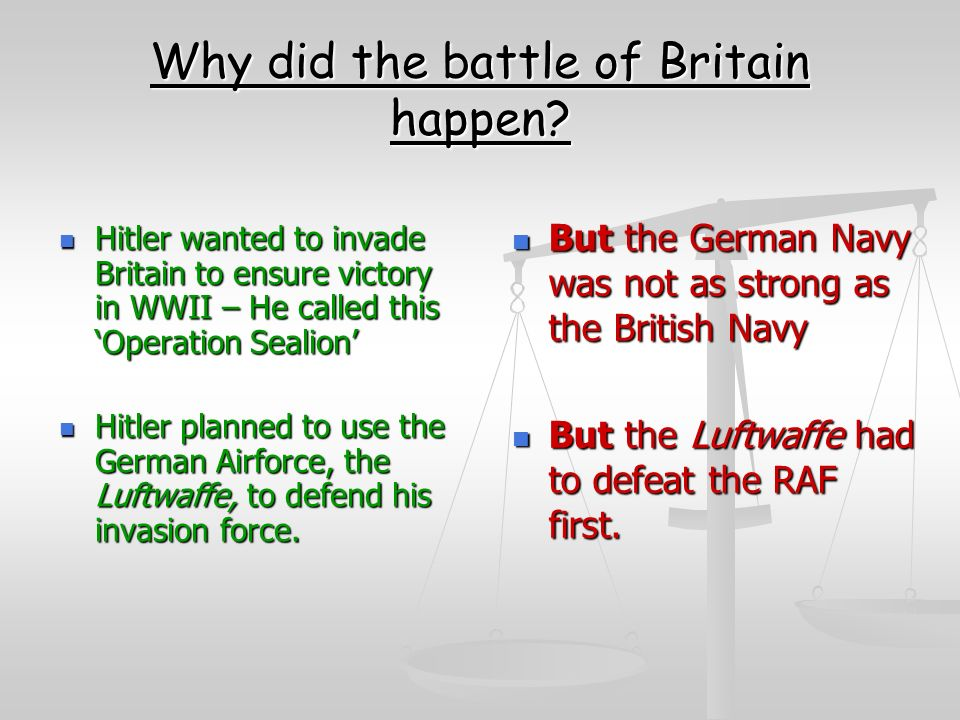why did britain win the battle Munich undoubtedly bought britain time for the raf to modernise dramatically over the next two years in autumn 1938 fighter command had just 25 squadrons, mostly made up of obsolete biplanes by the eve of the battle of britain, there were 58, most of them spitfires and hurricanes denis webb, a.