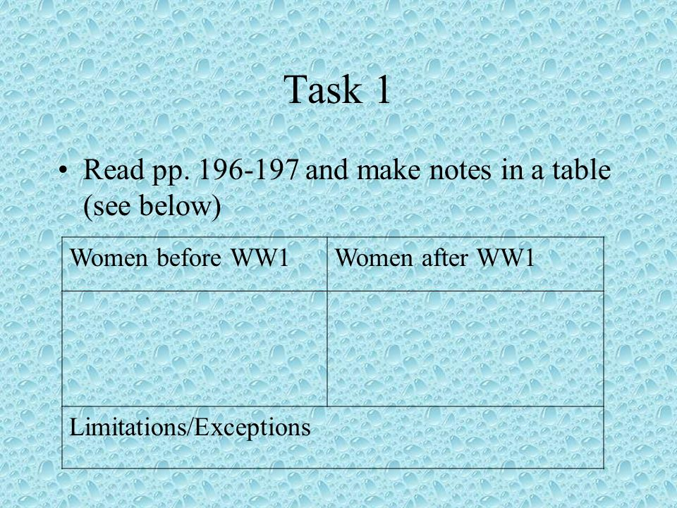 Task 1 Read pp. 196-197 and make notes in a table (see below)