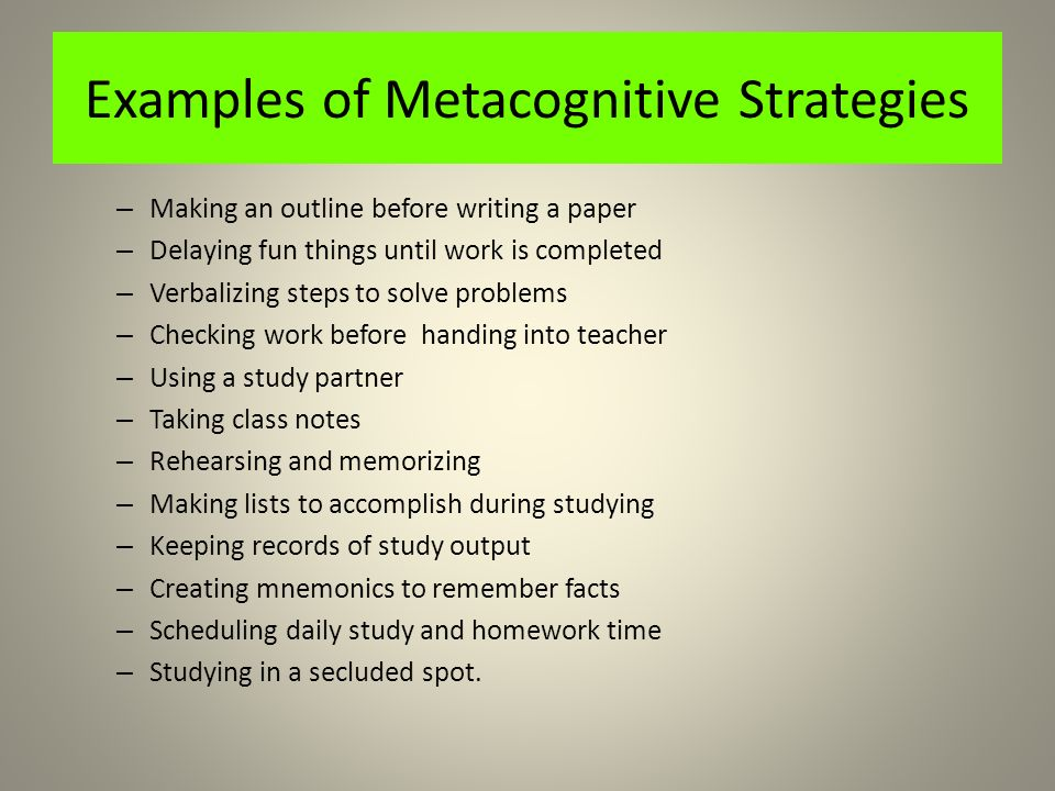 Essay Paper on Metacognition