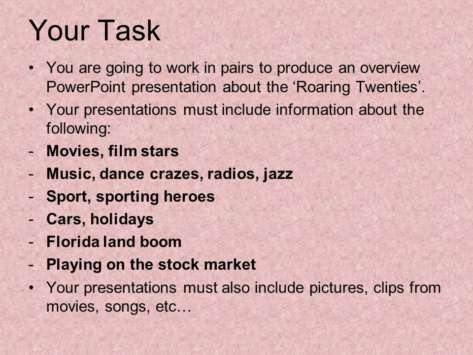 Your Task You are going to work in pairs to produce an overview PowerPoint presentation about the 'Roaring Twenties'.