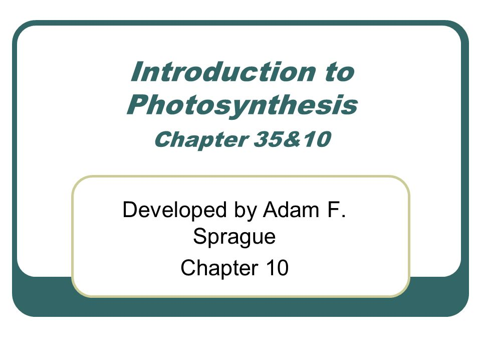 an introduction to photosynthesis 1 an introduction to photosynthesis in aqua tic systems photosynthesis is the biological conversion of light energy to chemical bond energy that is stored in the f.