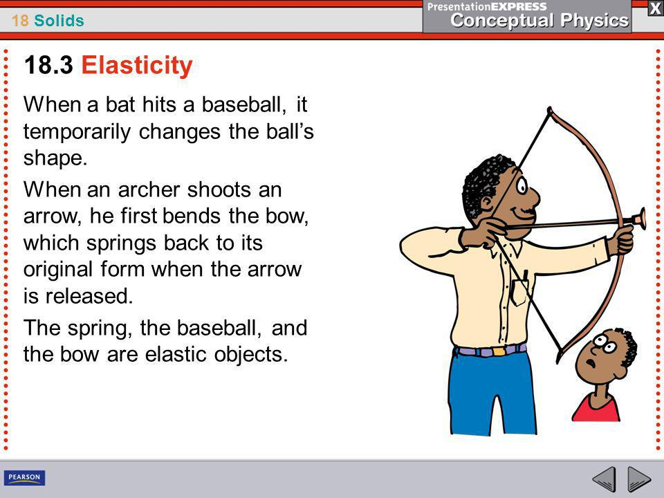 18.3 Elasticity When a bat hits a baseball, it temporarily changes the ball's shape.