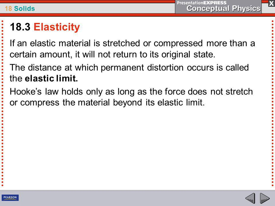18.3 Elasticity If an elastic material is stretched or compressed more than a certain amount, it will not return to its original state.