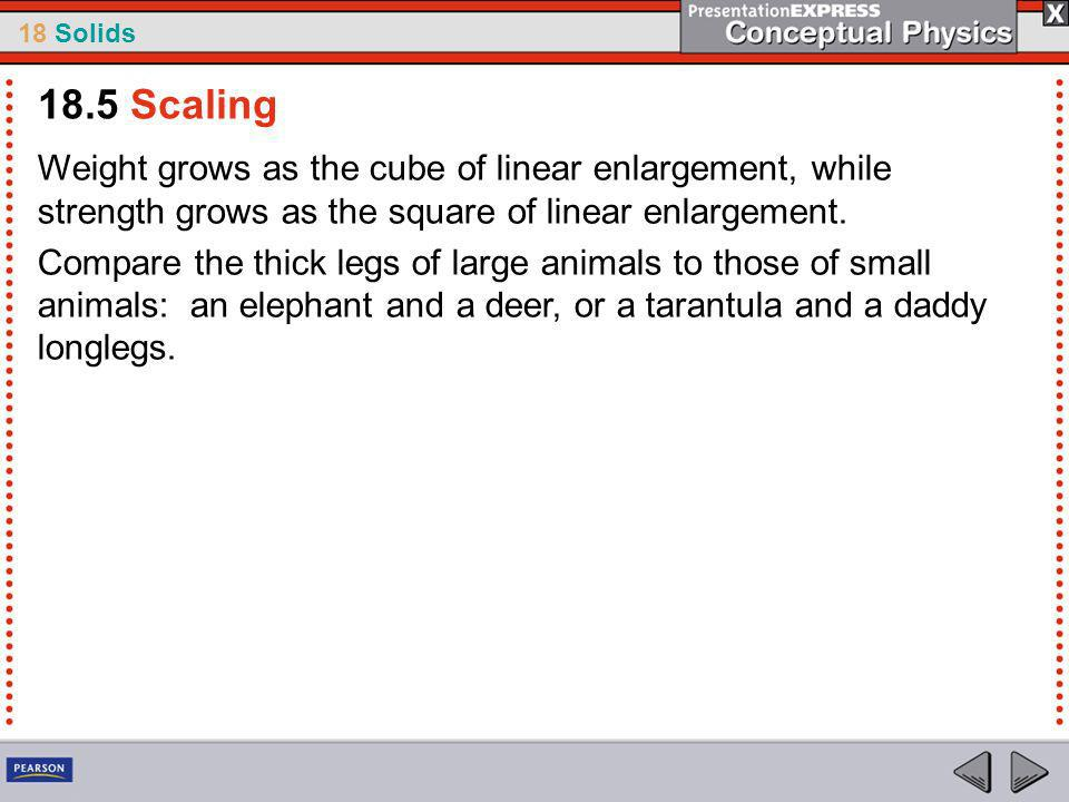 18.5 Scaling Weight grows as the cube of linear enlargement, while strength grows as the square of linear enlargement.