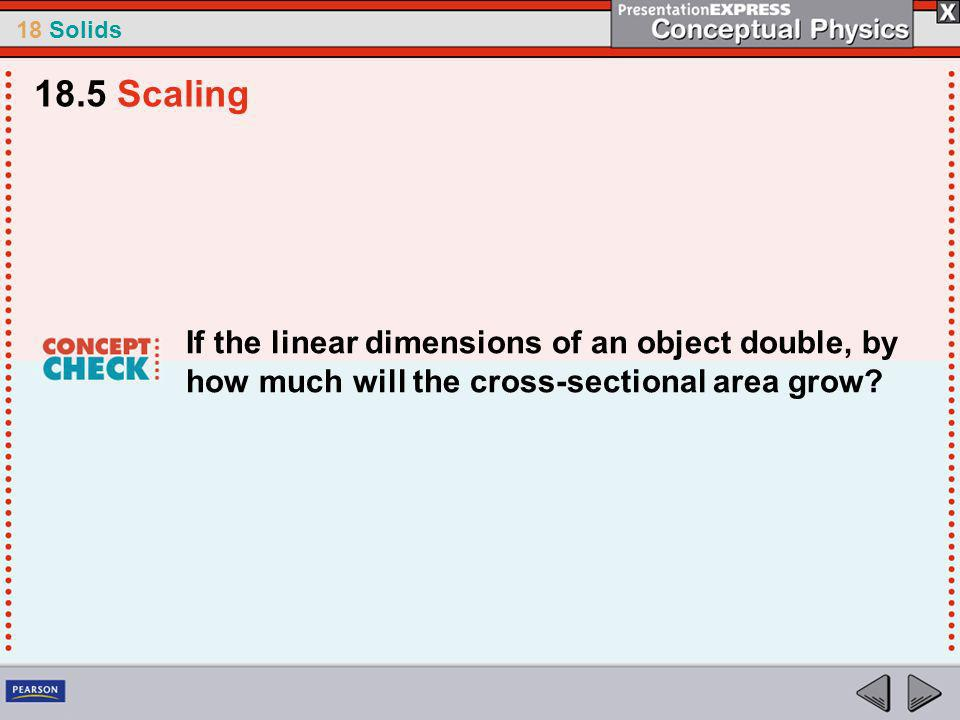 18.5 Scaling If the linear dimensions of an object double, by how much will the cross-sectional area grow