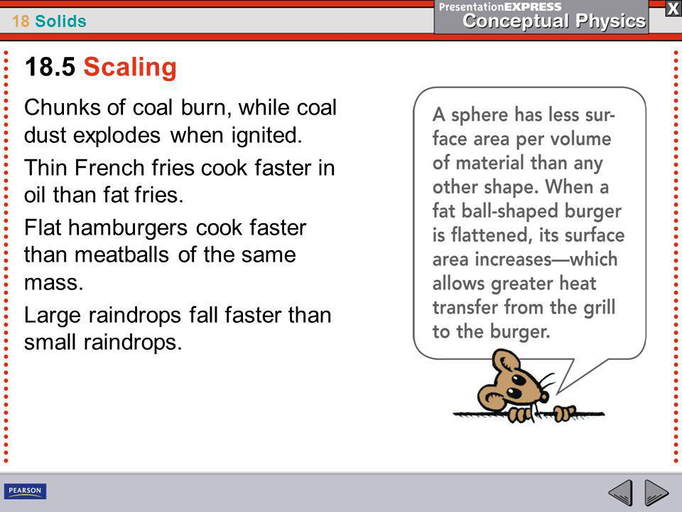 18.5 Scaling Chunks of coal burn, while coal dust explodes when ignited. Thin French fries cook faster in oil than fat fries.
