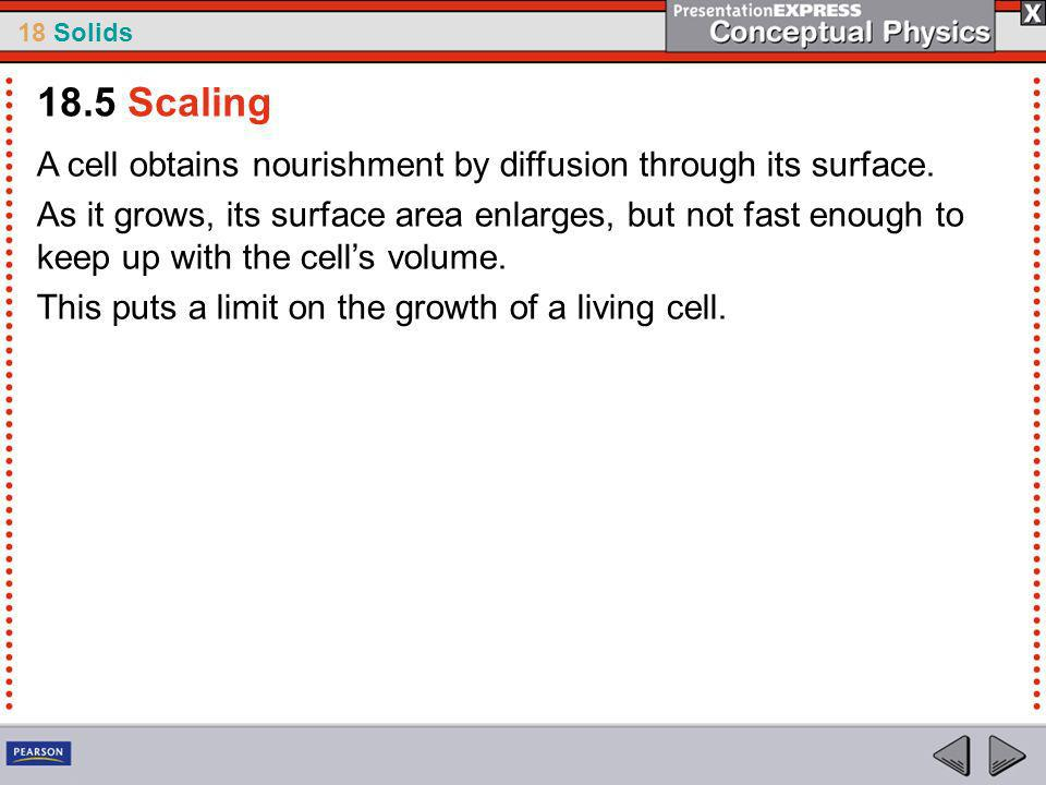 18.5 Scaling A cell obtains nourishment by diffusion through its surface.